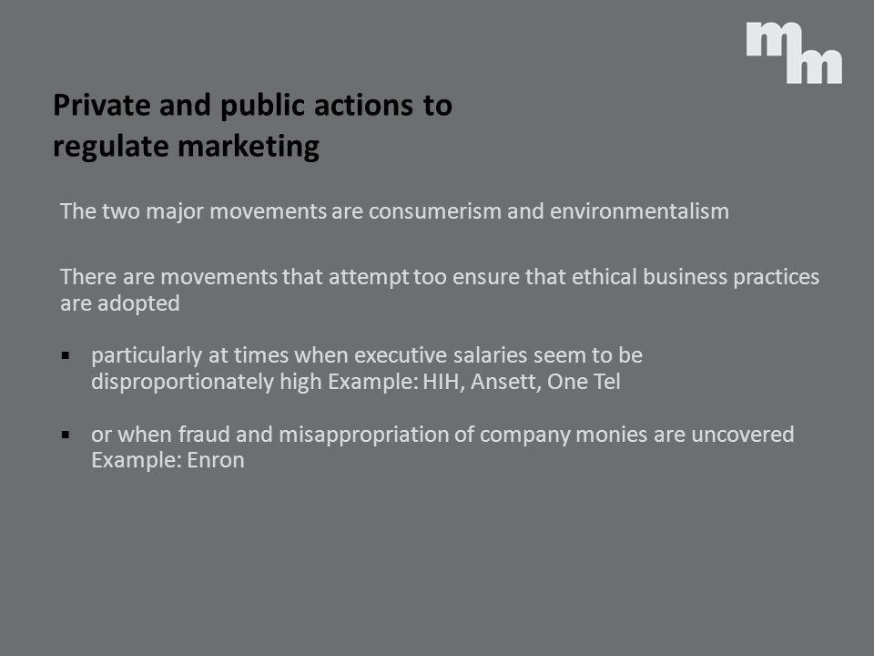 Private and public actions to regulate marketing