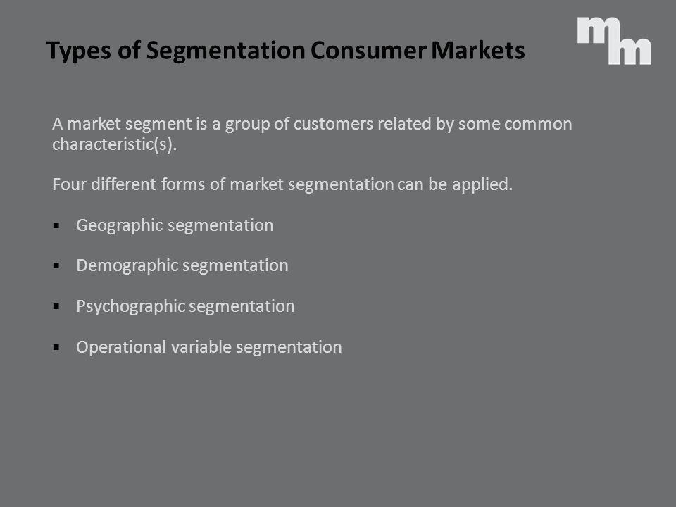 Types of Segmentation Consumer Markets