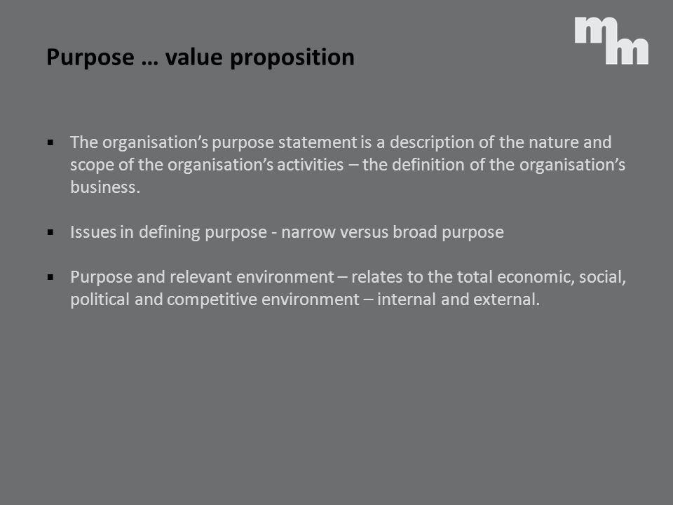Purpose … value proposition