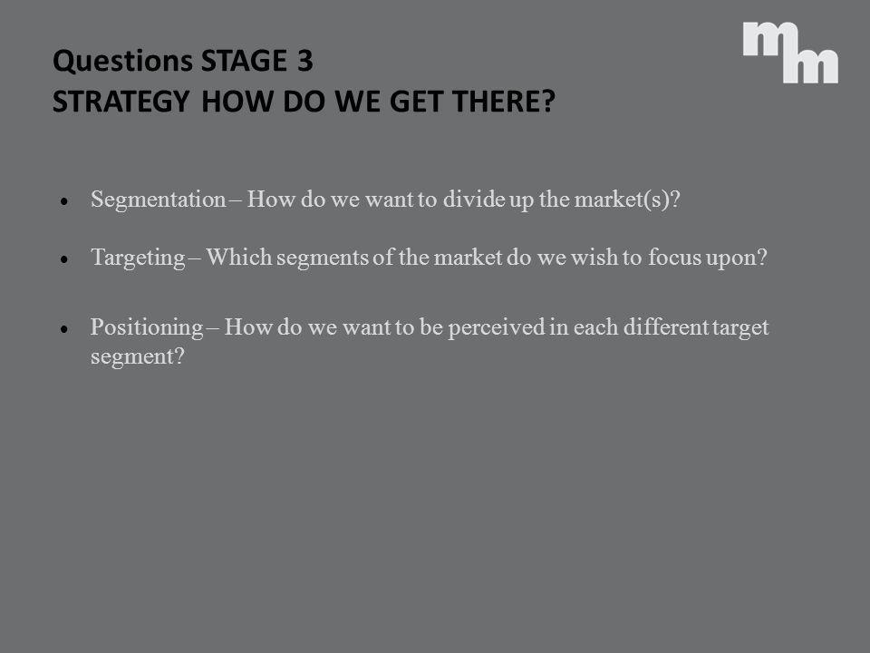 Questions STAGE 3 STRATEGY HOW DO WE GET THERE