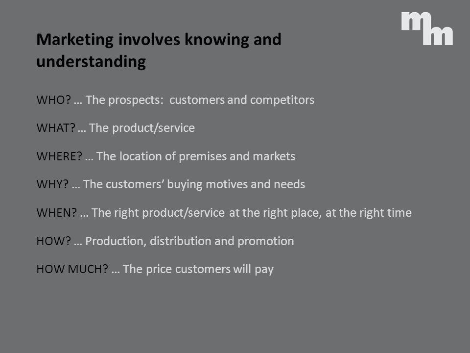 Marketing involves knowing and understanding