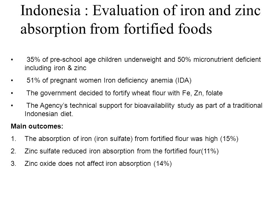 Indonesia : Evaluation of iron and zinc absorption from fortified foods