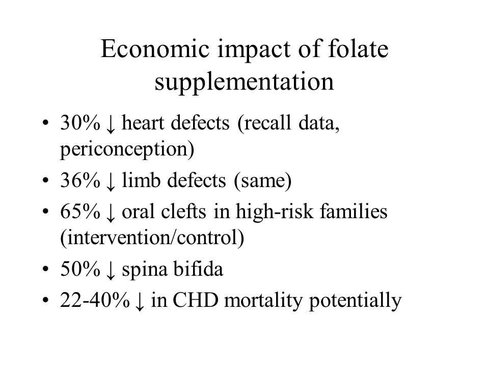 Economic impact of folate supplementation