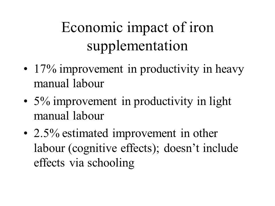 Economic impact of iron supplementation