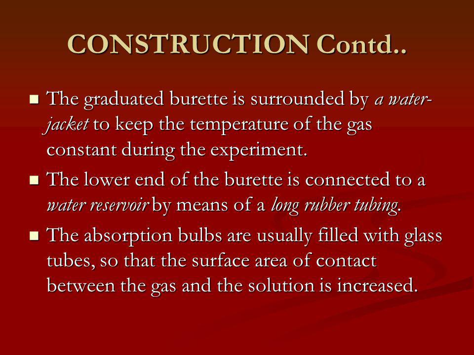 CONSTRUCTION Contd.. The graduated burette is surrounded by a water-jacket to keep the temperature of the gas constant during the experiment.