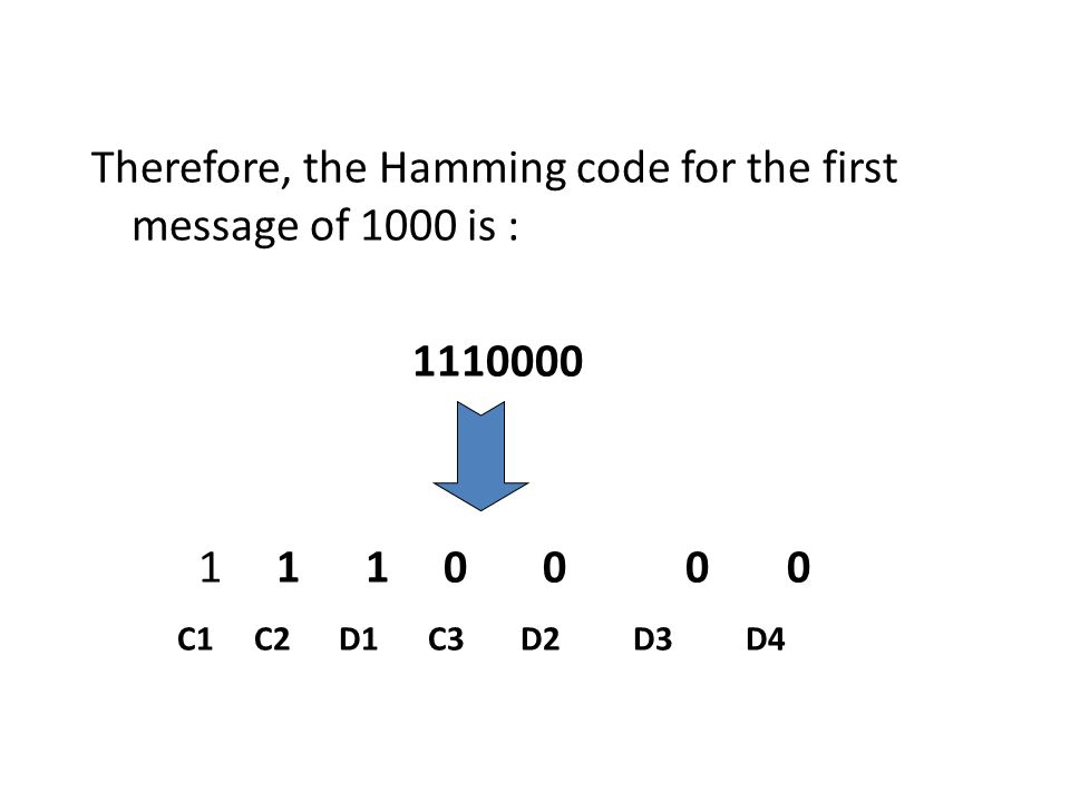 Therefore, the Hamming code for the first message of 1000 is :