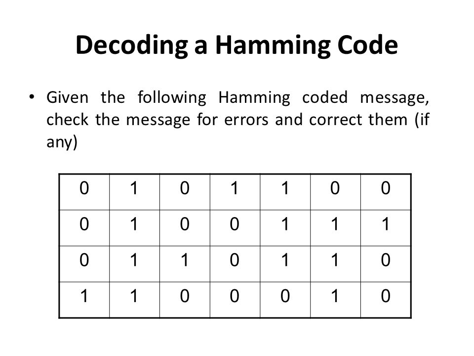 Decoding a Hamming Code