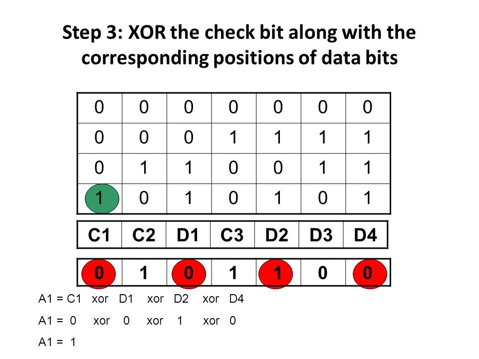 Step 3: XOR the check bit along with the corresponding positions of data bits