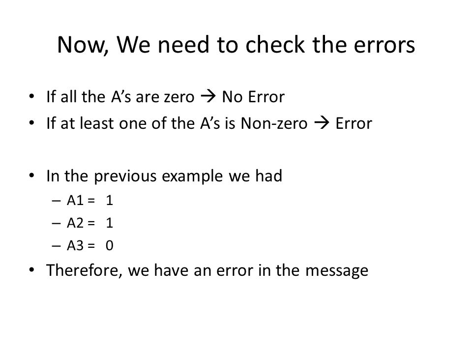 Now, We need to check the errors