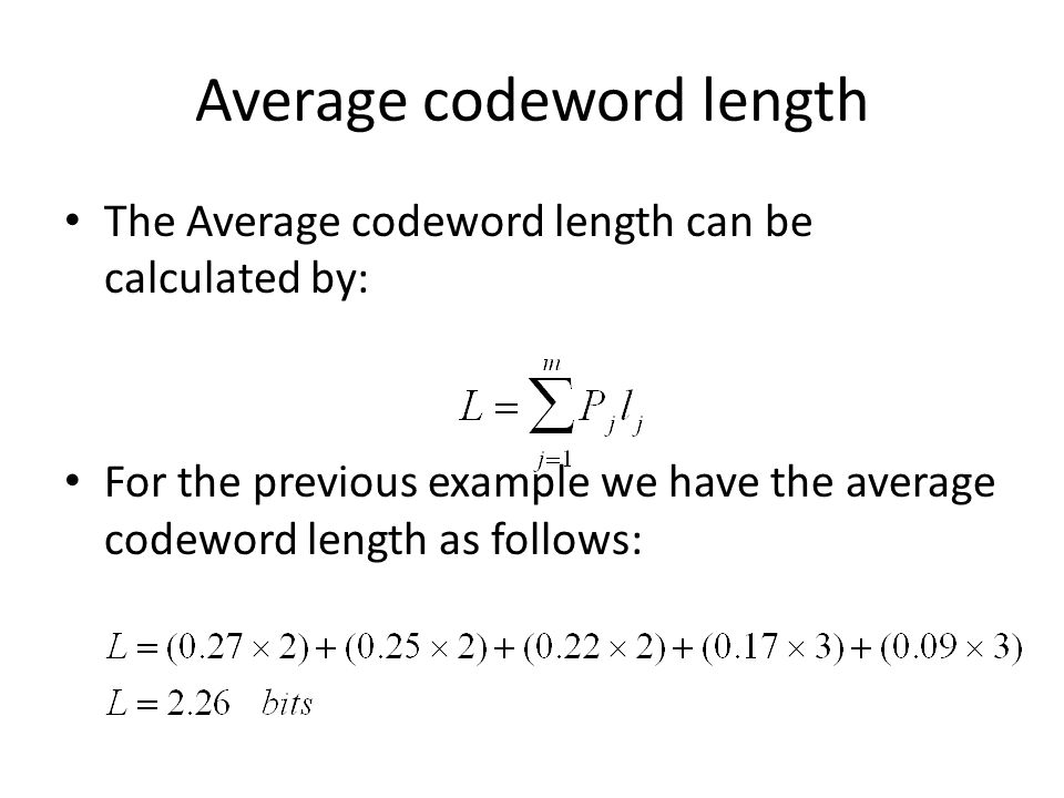 Average codeword length