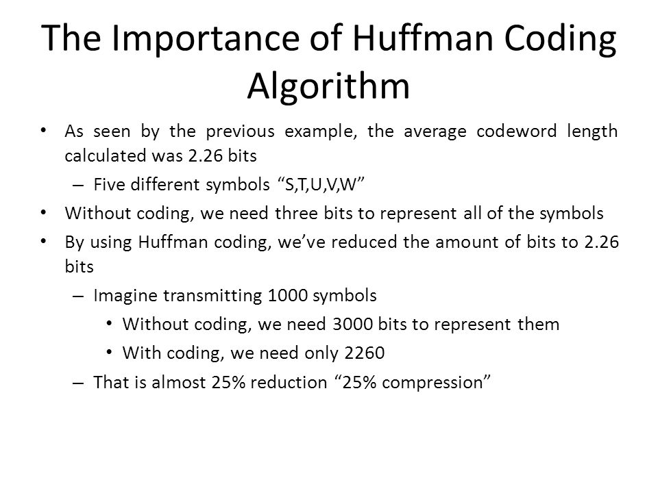 The Importance of Huffman Coding Algorithm