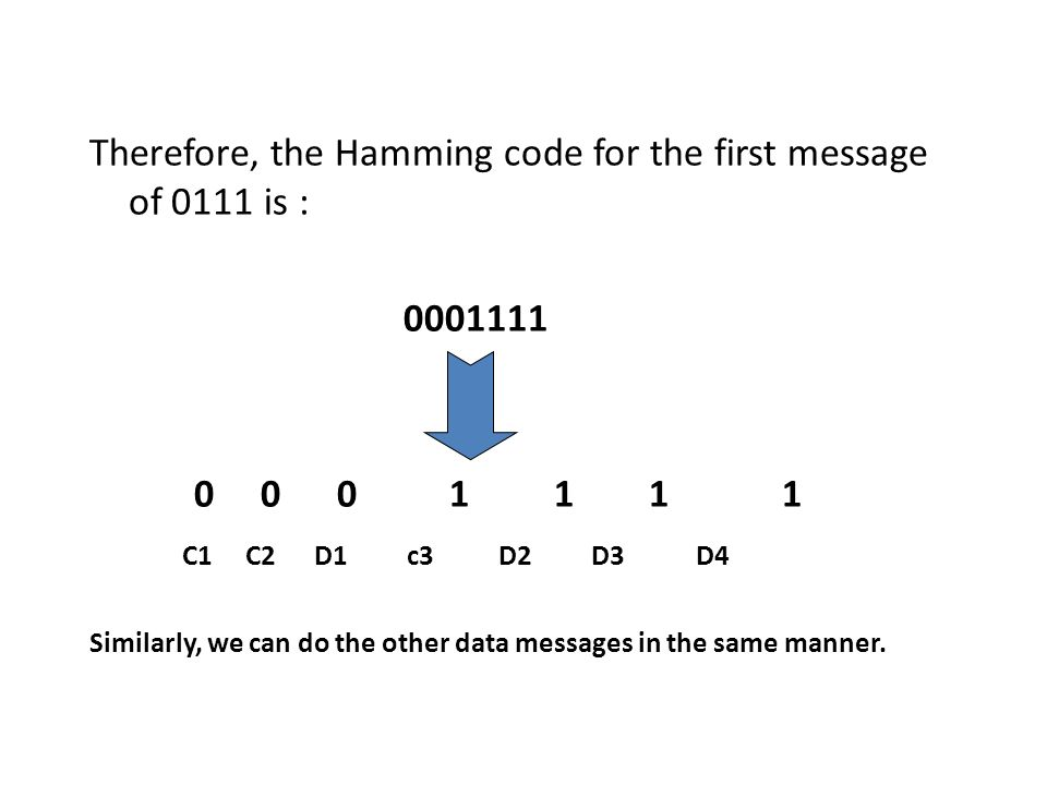 Therefore, the Hamming code for the first message of 0111 is :