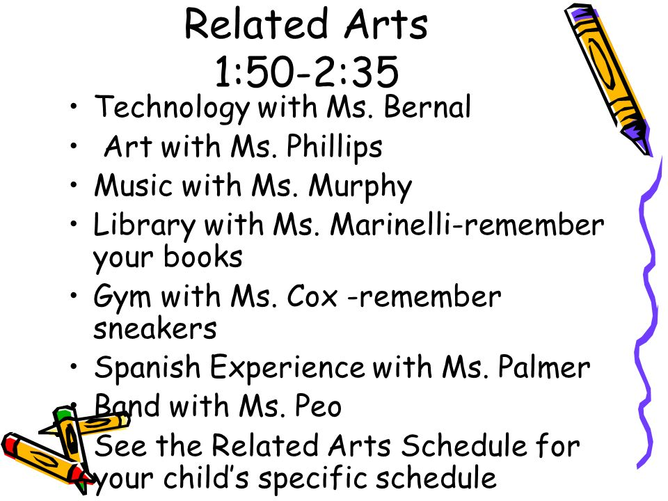 Related Arts 1:50-2:35 Technology with Ms. Bernal