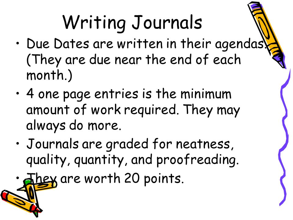 Writing Journals Due Dates are written in their agendas. (They are due near the end of each month.)