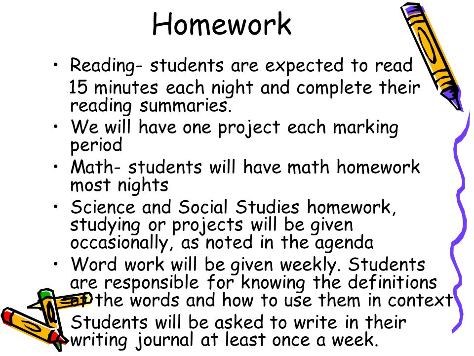 Homework Reading- students are expected to read