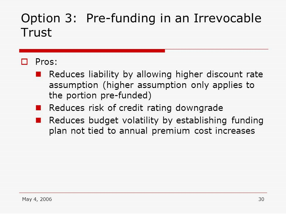 Option 3: Pre-funding in an Irrevocable Trust