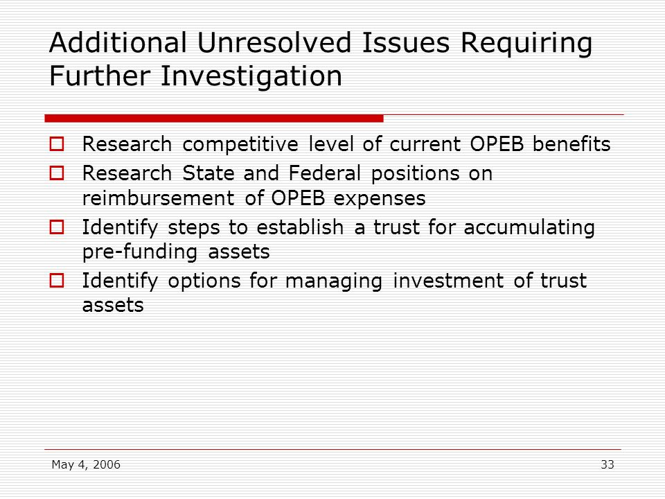 Additional Unresolved Issues Requiring Further Investigation