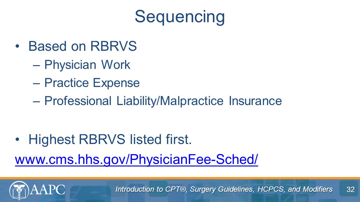 Sequencing Based on RBRVS Highest RBRVS listed first.