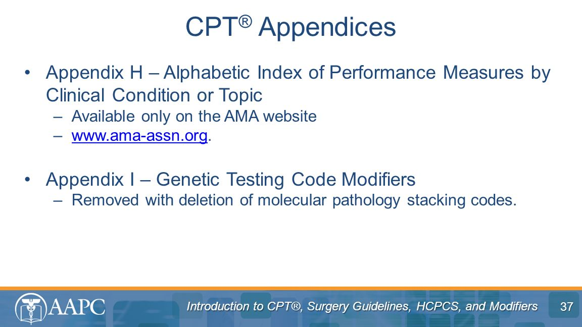 CPT® Appendices Appendix H – Alphabetic Index of Performance Measures by Clinical Condition or Topic.