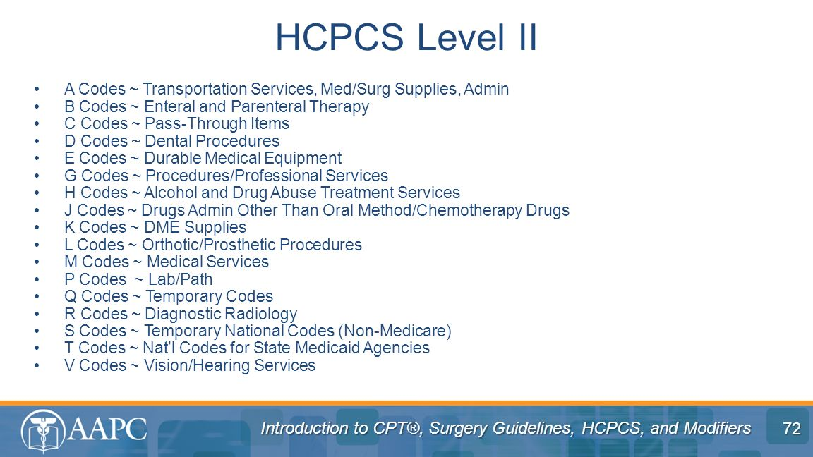 HCPCS Level II A Codes ~ Transportation Services, Med/Surg Supplies, Admin. B Codes ~ Enteral and Parenteral Therapy.