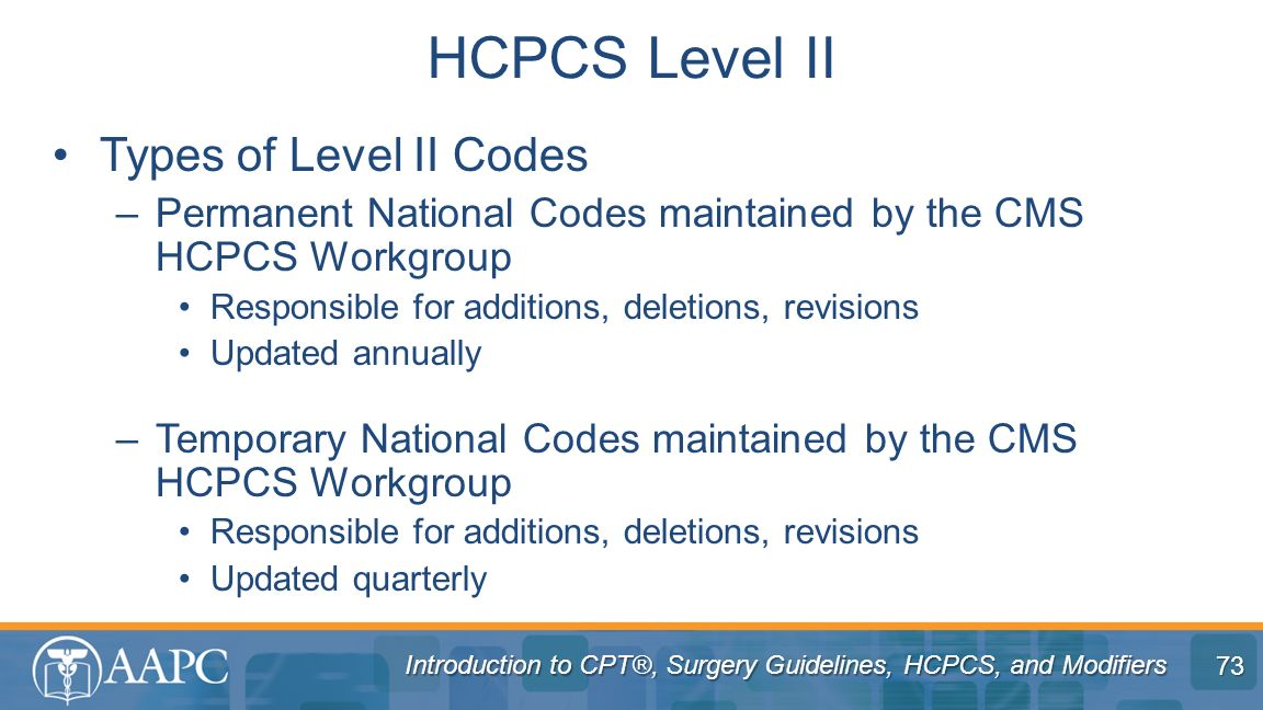 HCPCS Level II Types of Level II Codes