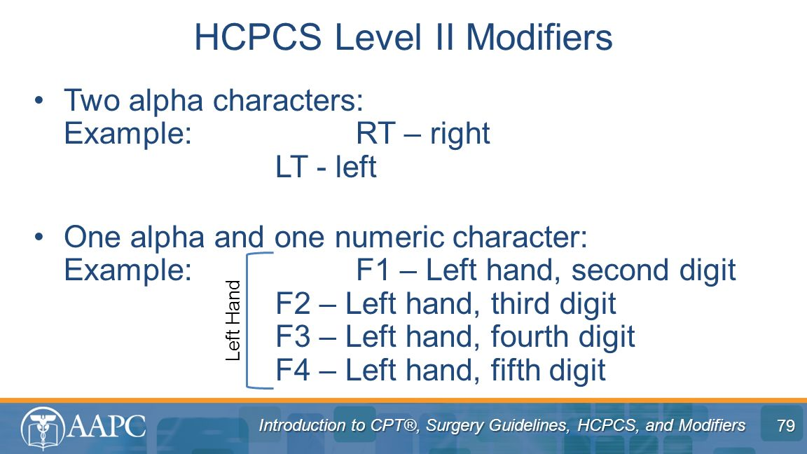HCPCS Level II Modifiers