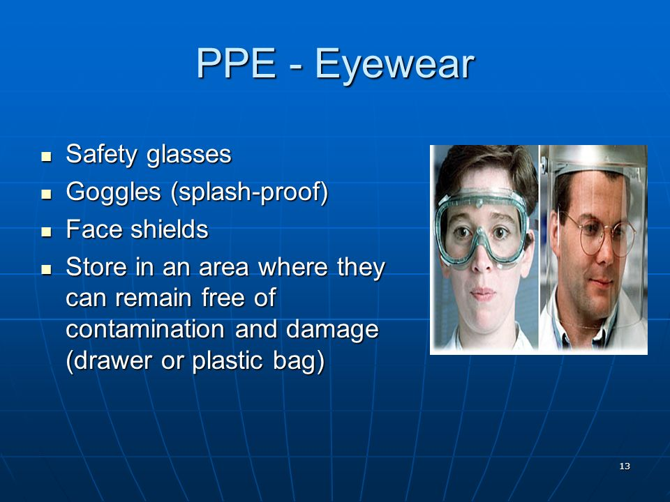 PPE - Eyewear Safety glasses Goggles (splash-proof) Face shields