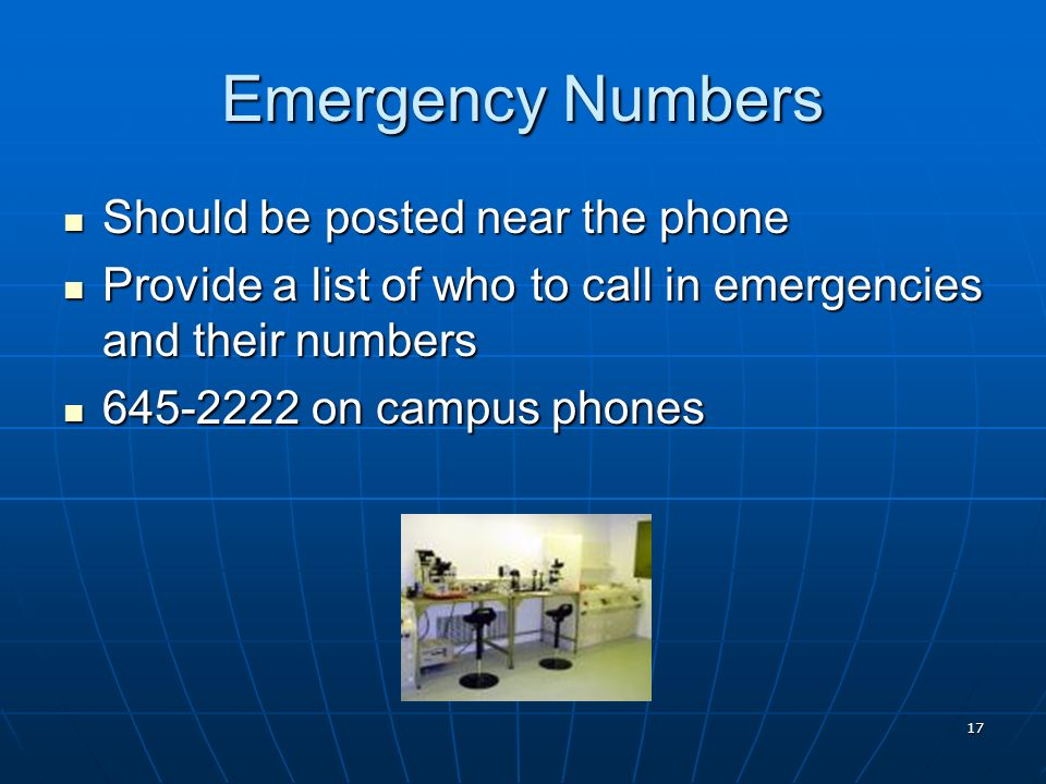Emergency Numbers Should be posted near the phone