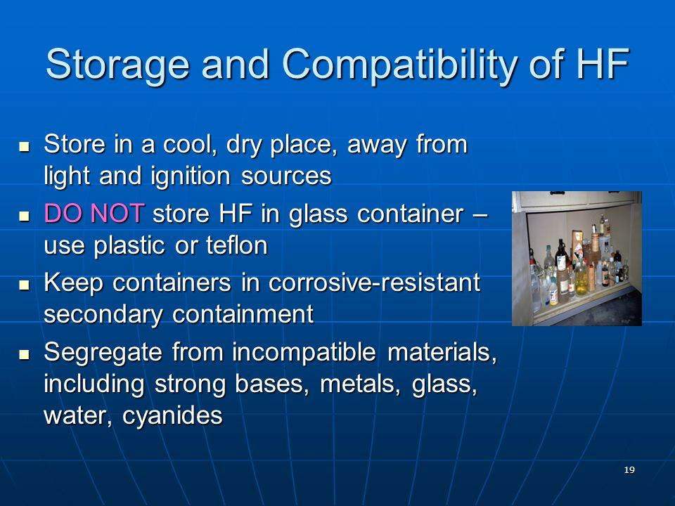 Storage and Compatibility of HF