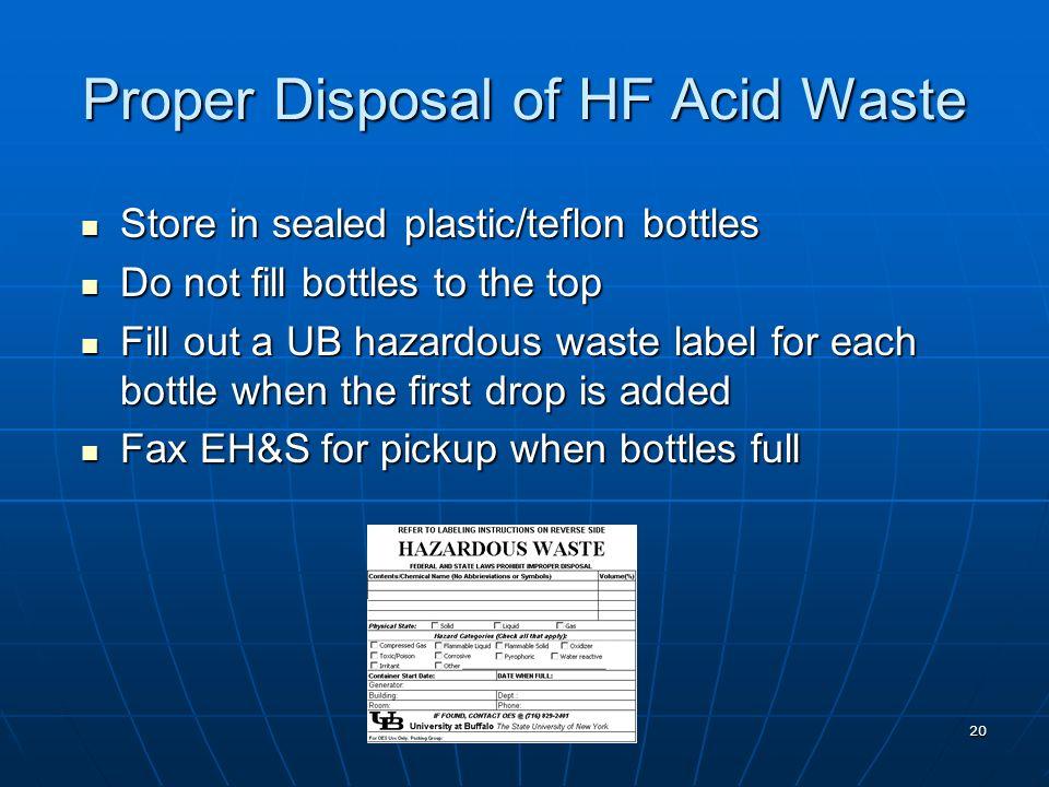 Proper Disposal of HF Acid Waste