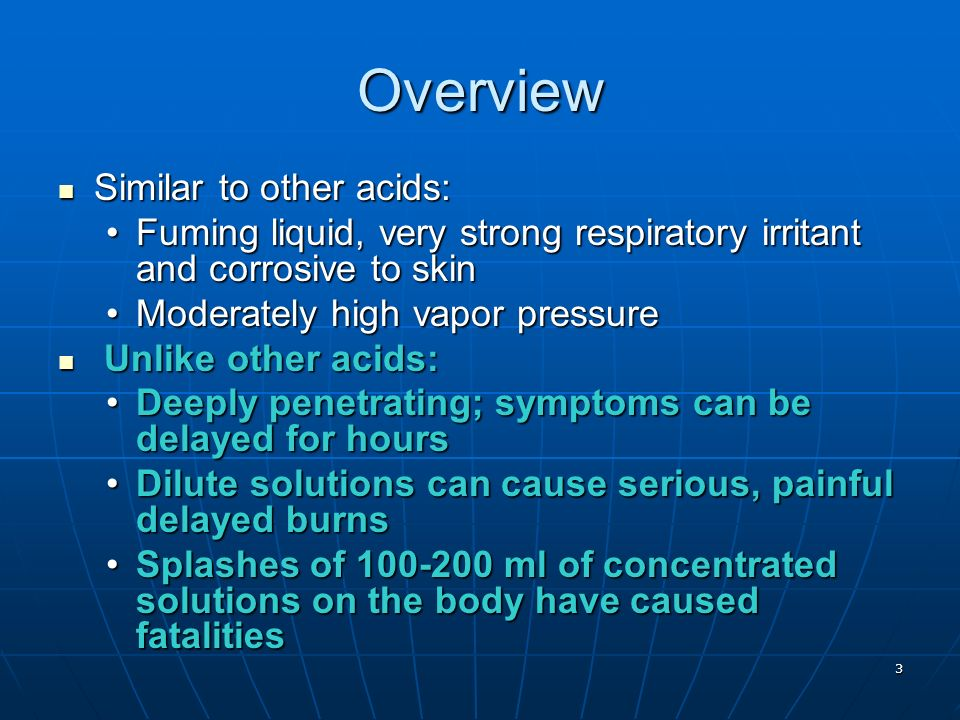 Overview Similar to other acids: