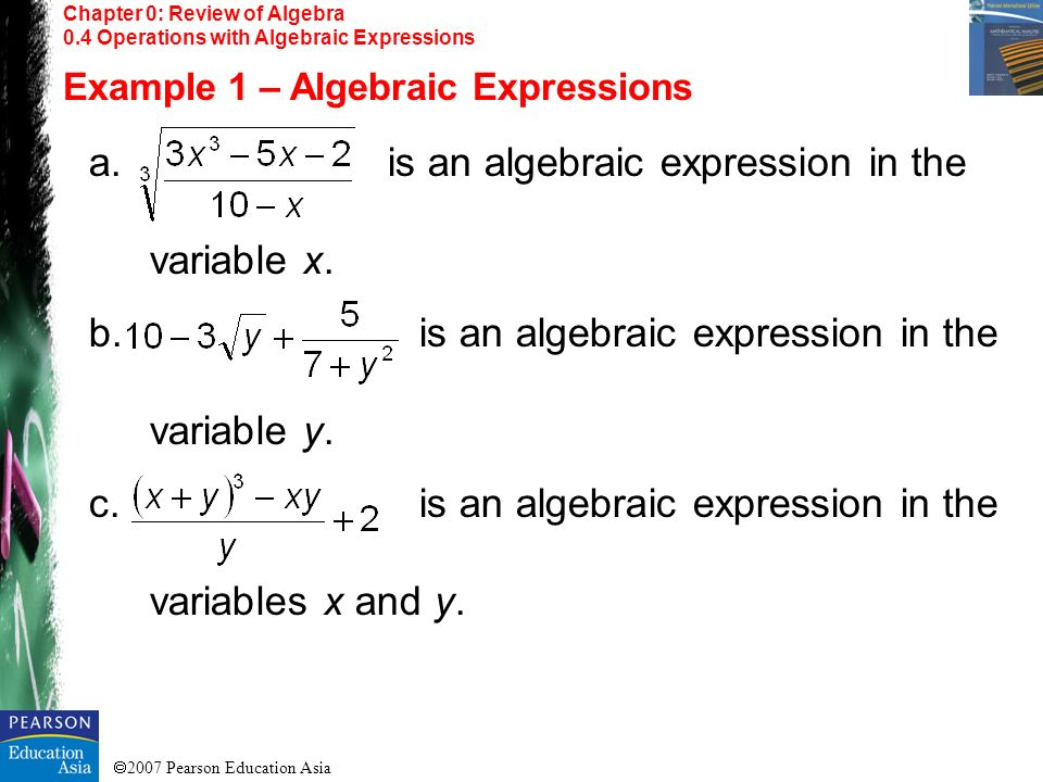 is an algebraic expression in the variable x.