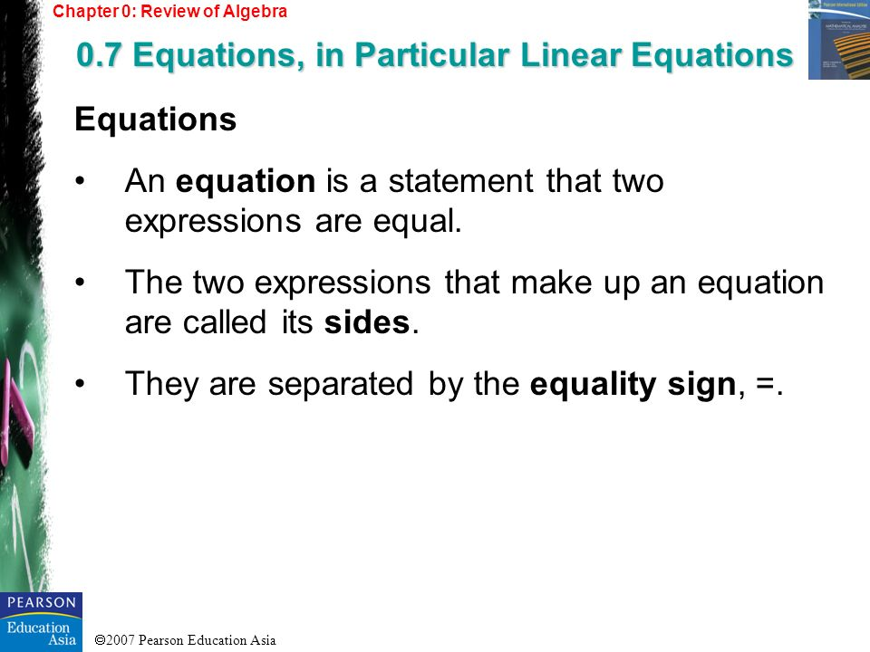 0.7 Equations, in Particular Linear Equations