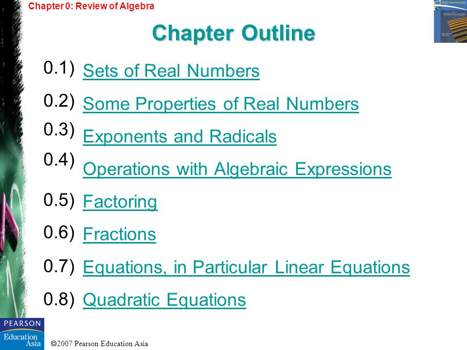 Chapter Outline 0.1) Sets of Real Numbers