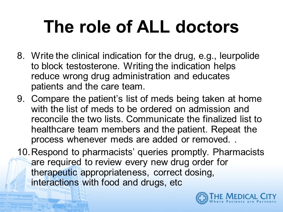 The role of ALL doctors