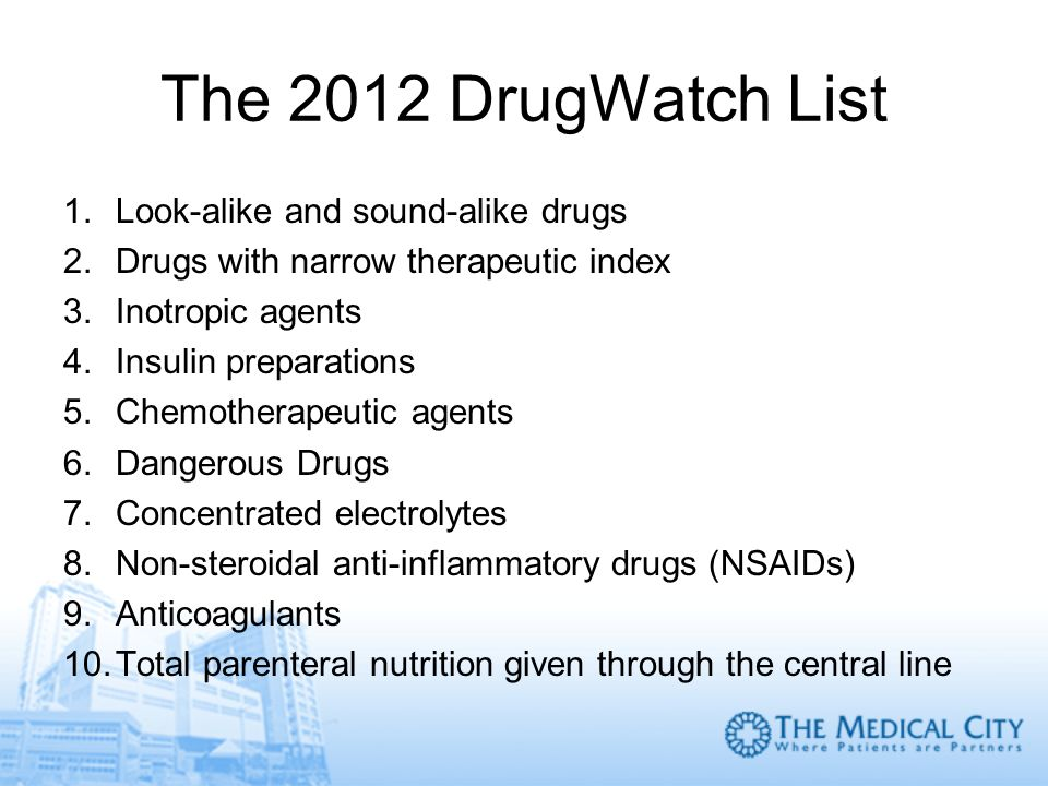 The 2012 DrugWatch List Look-alike and sound-alike drugs