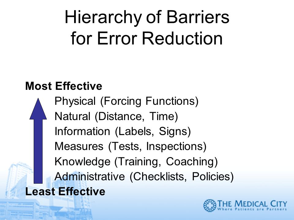Hierarchy of Barriers for Error Reduction