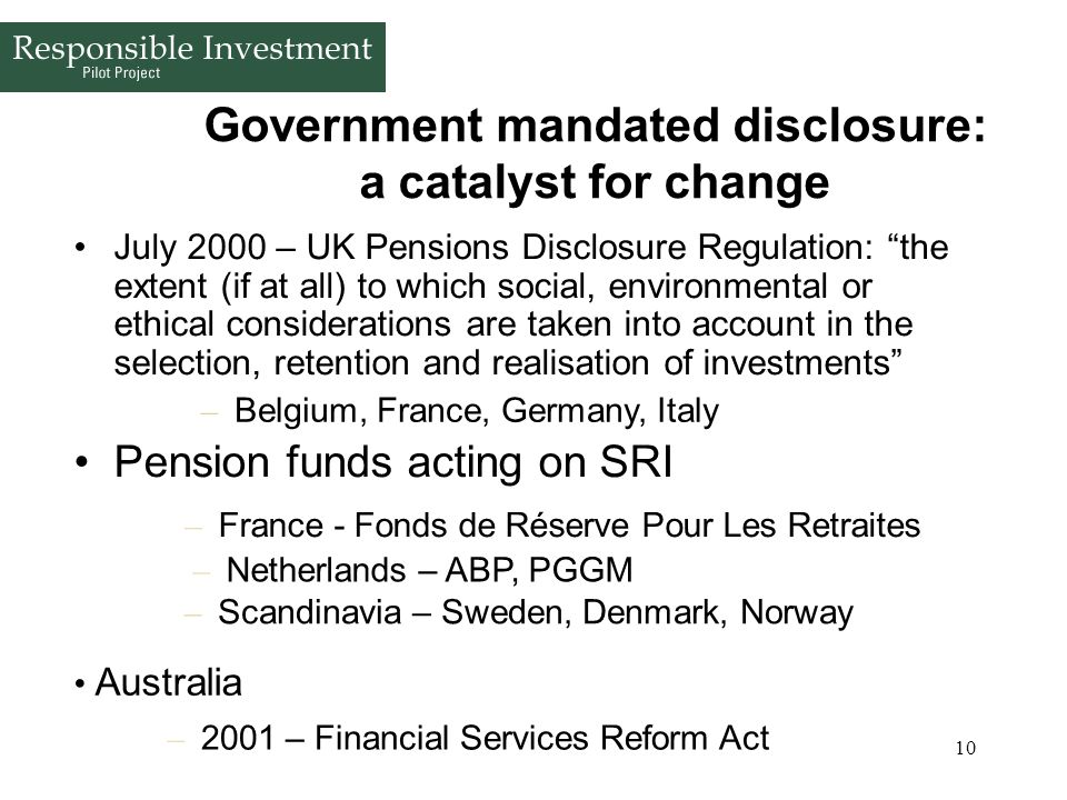Government mandated disclosure: a catalyst for change