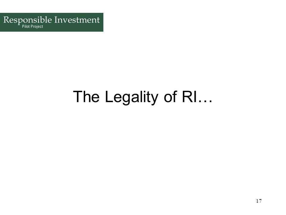 The Legality of RI…