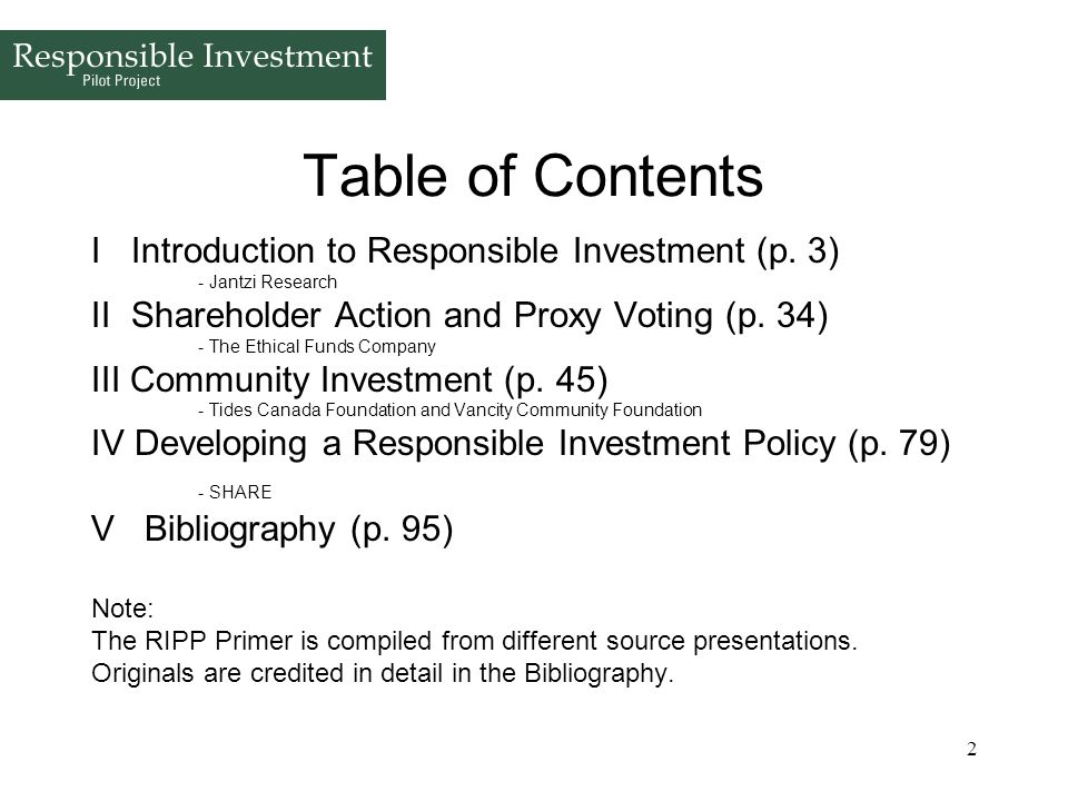 Table of Contents I Introduction to Responsible Investment (p. 3)