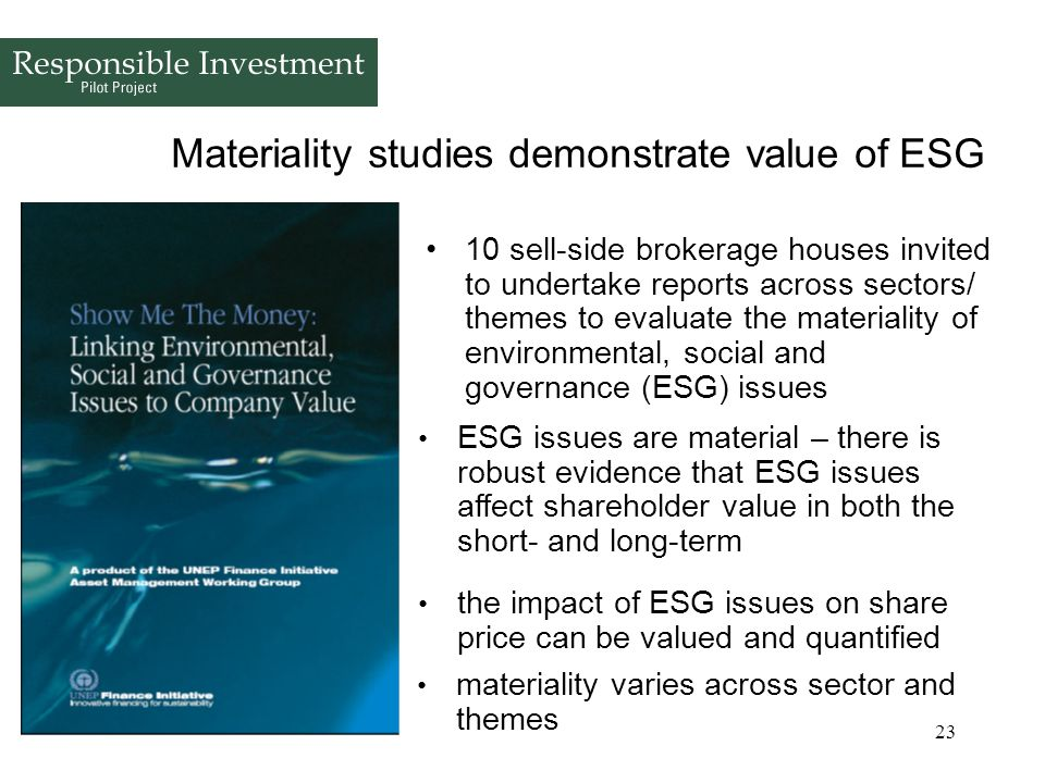Materiality studies demonstrate value of ESG