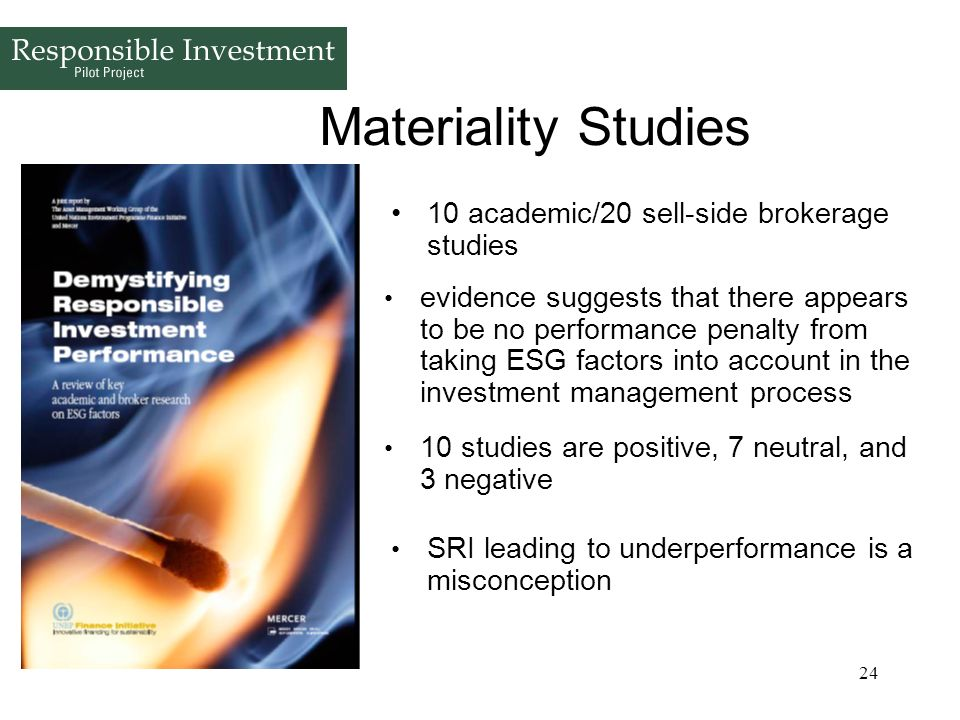 Materiality Studies 10 academic/20 sell-side brokerage studies