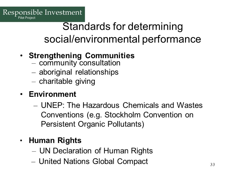 Standards for determining social/environmental performance
