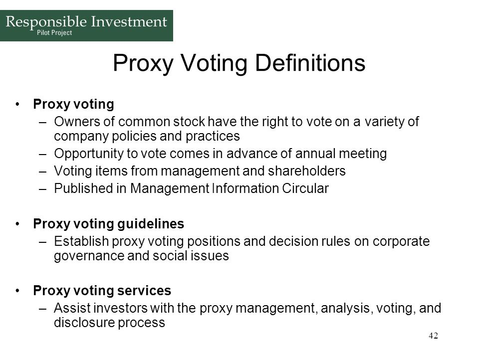 Proxy Voting Definitions