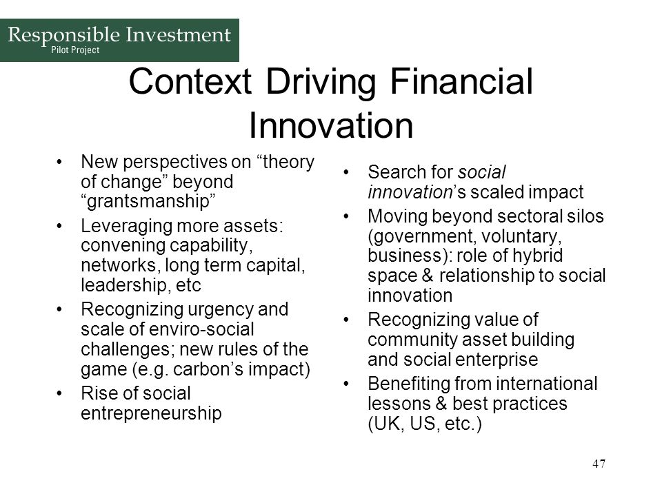 Context Driving Financial Innovation