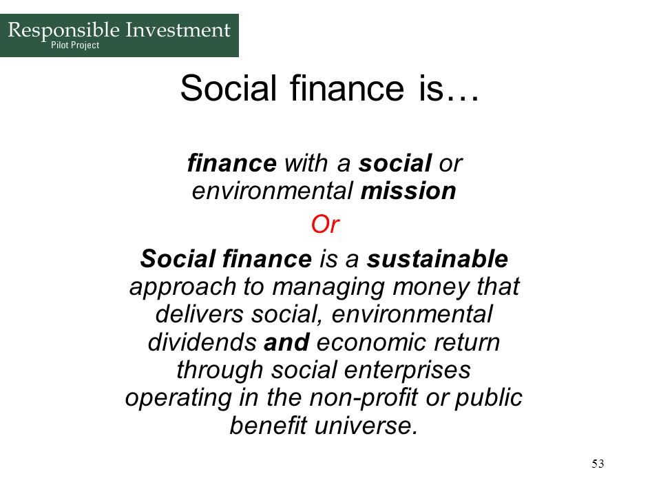 finance with a social or environmental mission