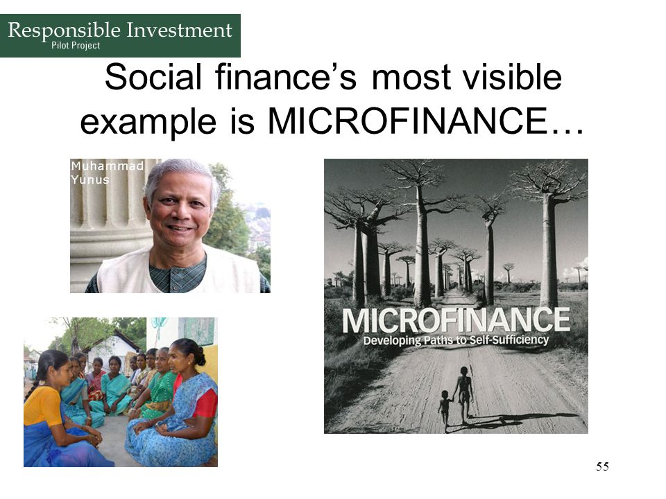 Social finance's most visible example is MICROFINANCE…
