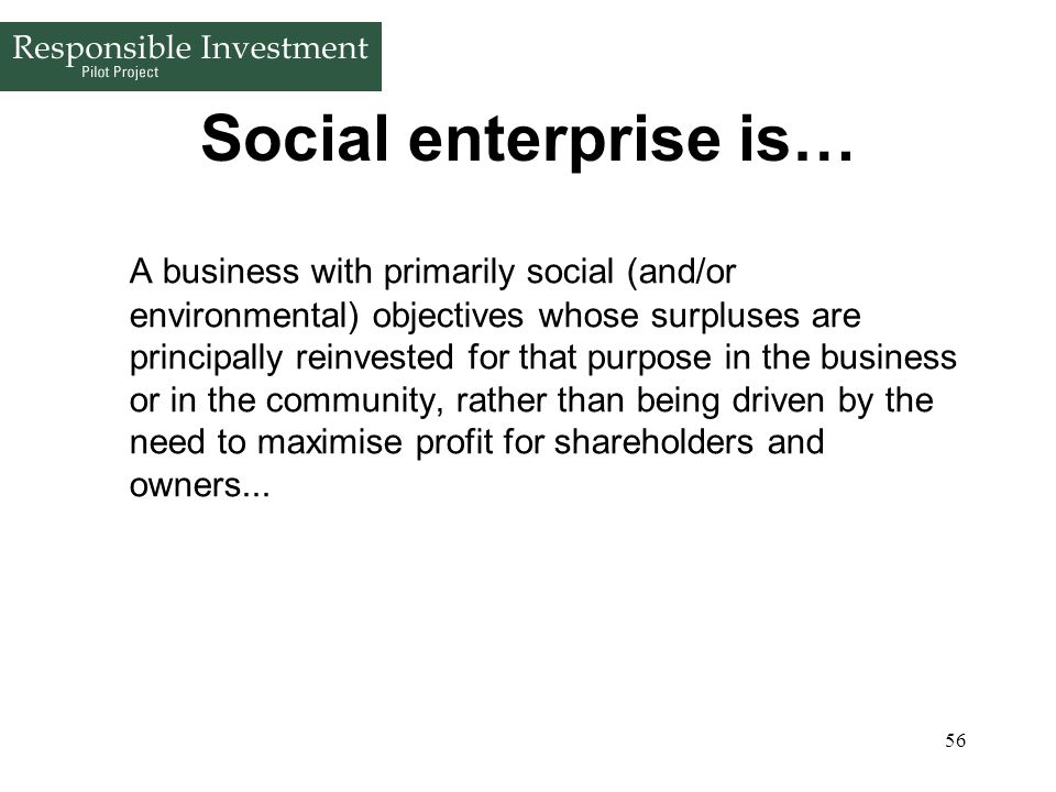 Social enterprise is…