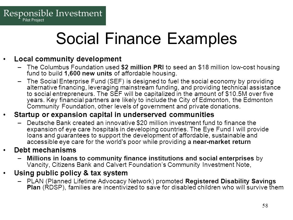 Social Finance Examples