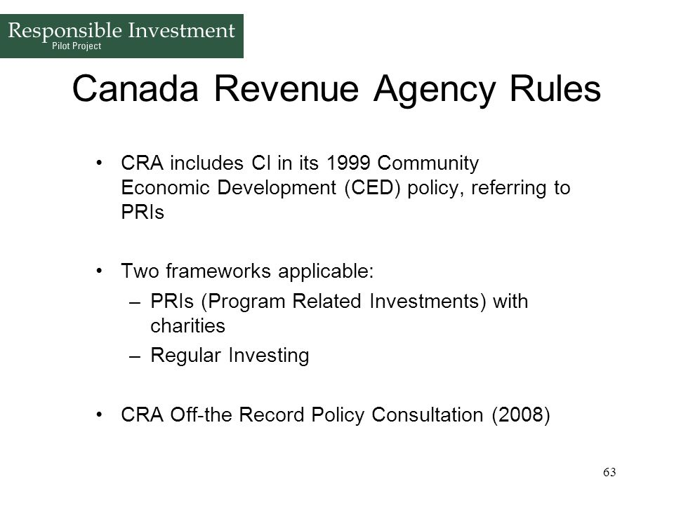 Canada Revenue Agency Rules